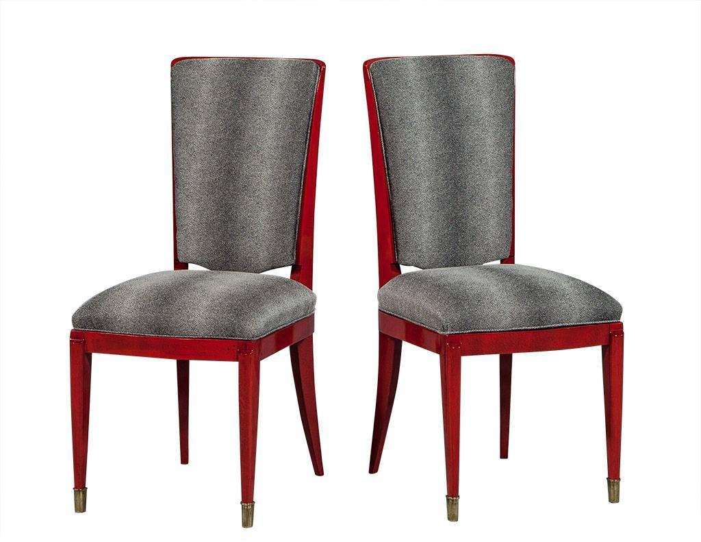 Set of six restored red deco lacquered dining chairs for for Red dining chairs for sale