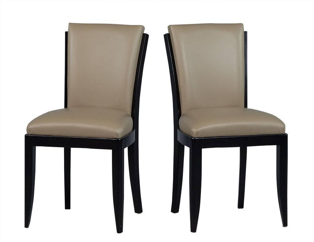 set of six deco leather dining chairs for sale