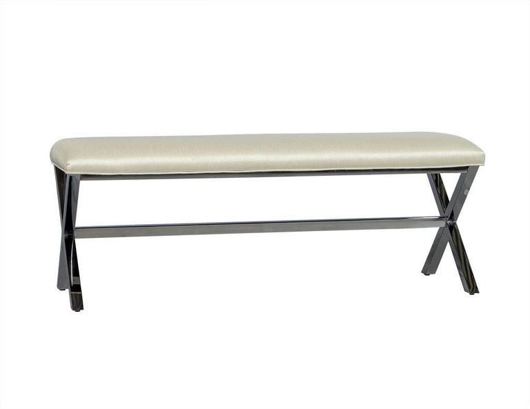 elegant contemporary metal x base bed bench for sale at 1stdibs. Black Bedroom Furniture Sets. Home Design Ideas
