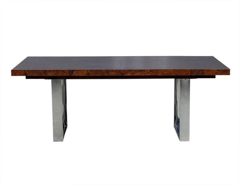 Modern Burled Walnut And Stainless Steel Dining Table For Sale At 1stdibs