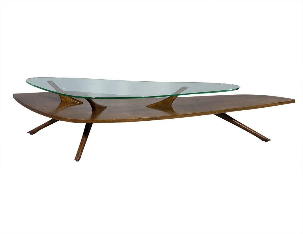 Retro wood and glass cocktail table in manner of adrian for Wood and glass cocktail tables