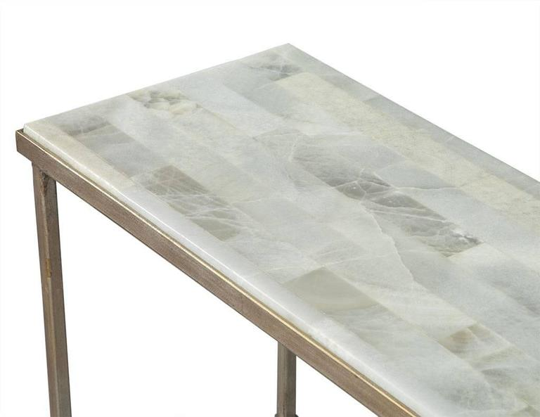dove white split face stone top metal console table 3