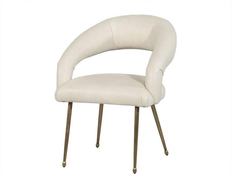 Pair of Curved Back Upholstered Lounge Chairs For Sale at 1stdibs