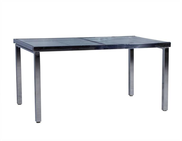 sleek glass and chrome extendable kitchen table for sale