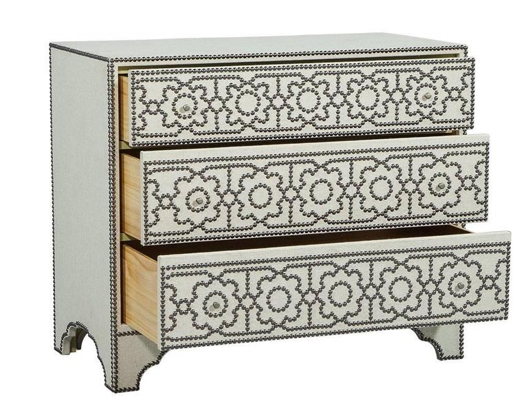 American Modern Linen Wrapped Chest With Decorative Nail Trim For Sale