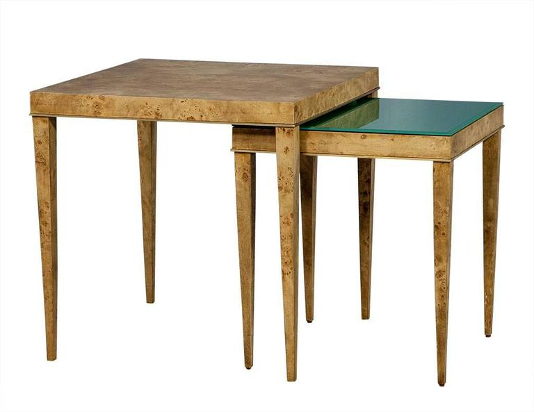 Burled wood and green glass nesting tables at 1stdibs set of square burled walnut nesting tables with natural finish features brass trim along lower watchthetrailerfo