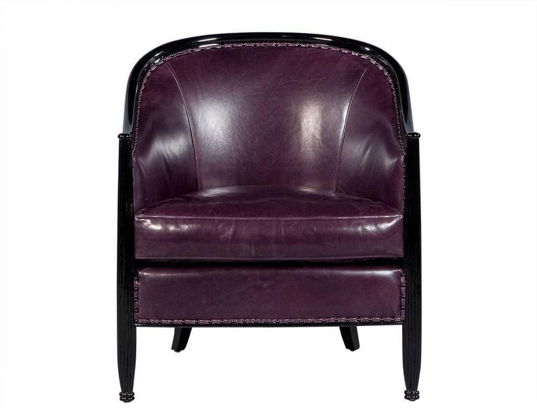 Canadian Pair of Art Deco Lounge Chairs in Dark Purple Leather For Sale