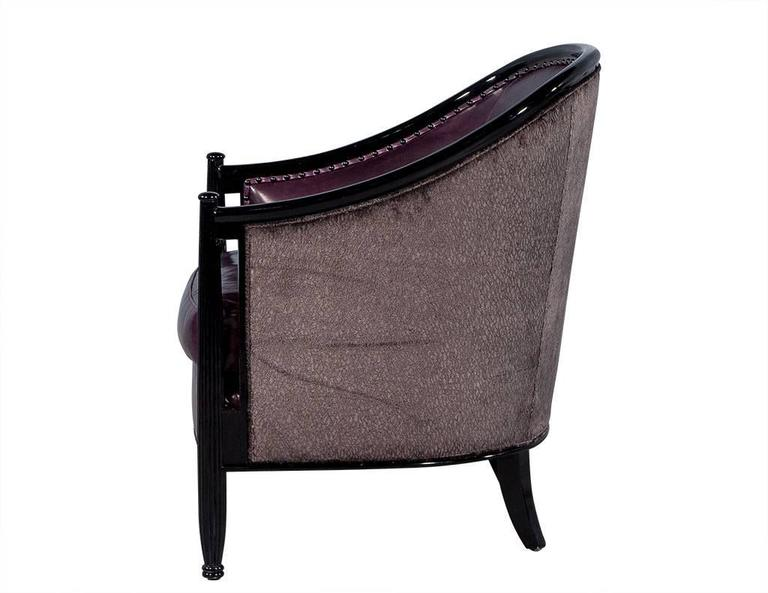 Pair of Art Deco Lounge Chairs in Dark Purple Leather In Excellent Condition For Sale In North York, ON