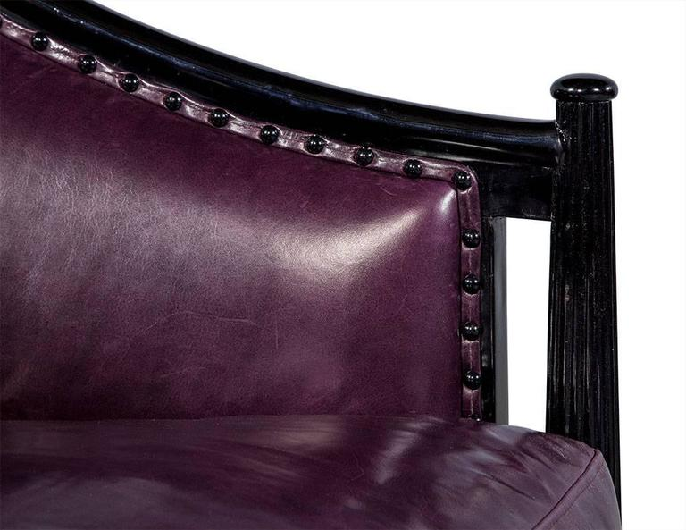 Pair of Art Deco Lounge Chairs in Dark Purple Leather For Sale 2