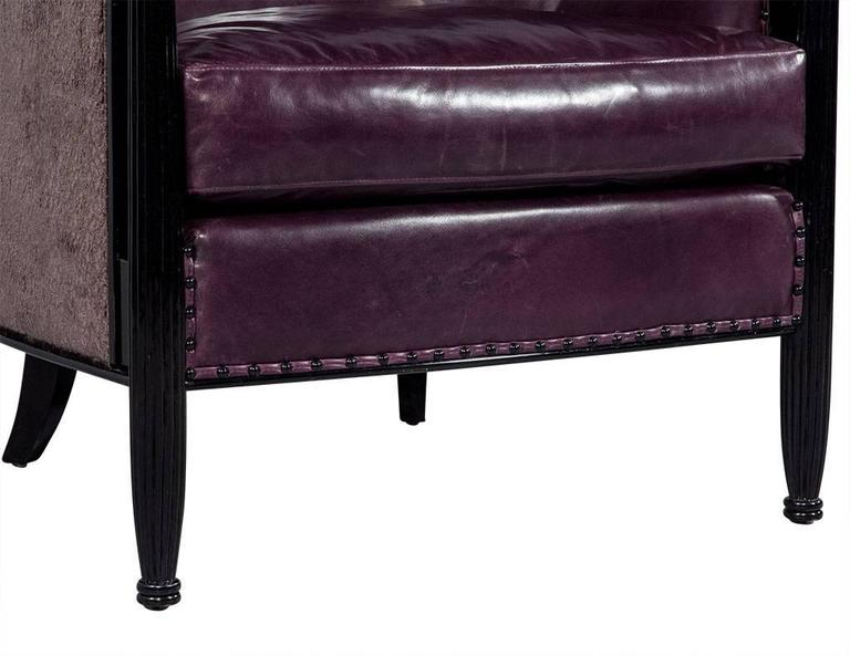 Pair of Art Deco Lounge Chairs in Dark Purple Leather For Sale 3