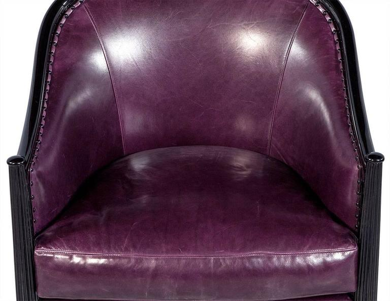 Pair of Art Deco Lounge Chairs in Dark Purple Leather For Sale 1