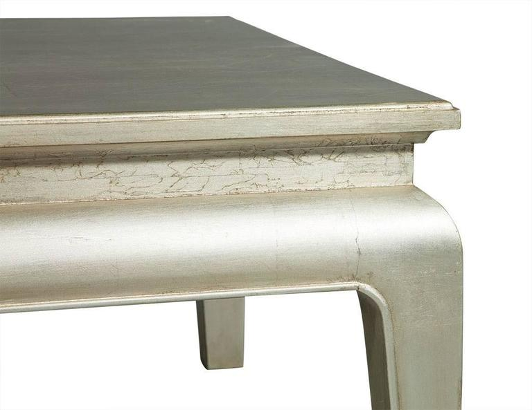 American Silver Leafed Cocktail Table For Sale