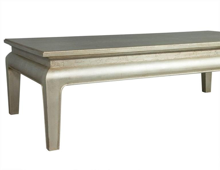 Woodwork Silver Leafed Cocktail Table For Sale