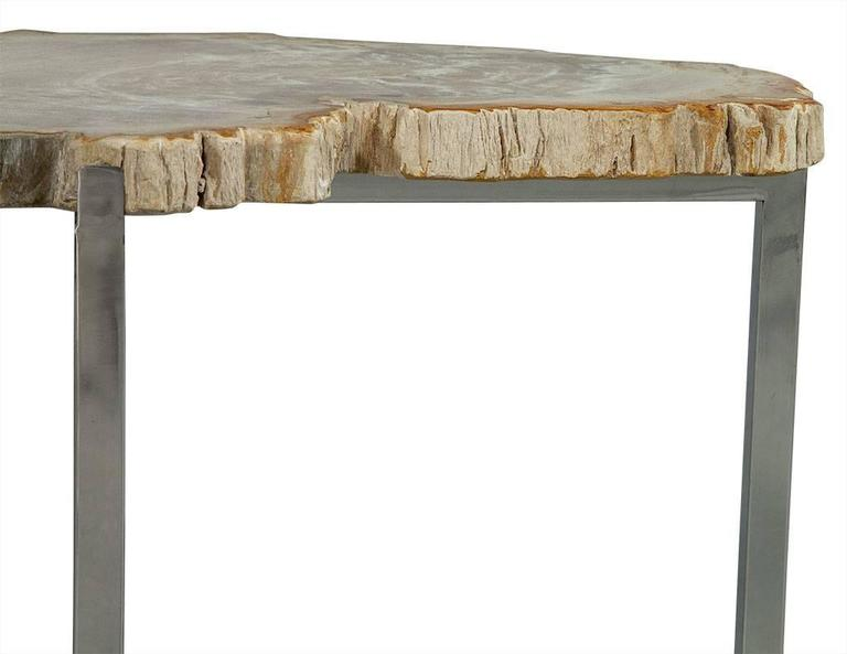 Contemporary Pair of Petrified Wood Accent Tables For Sale