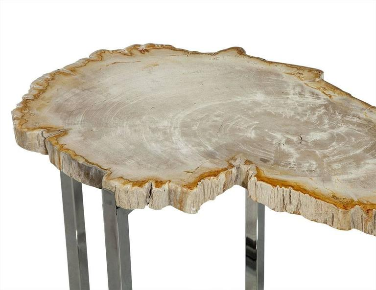 Pair of Petrified Wood Accent Tables In Excellent Condition For Sale In North York, ON