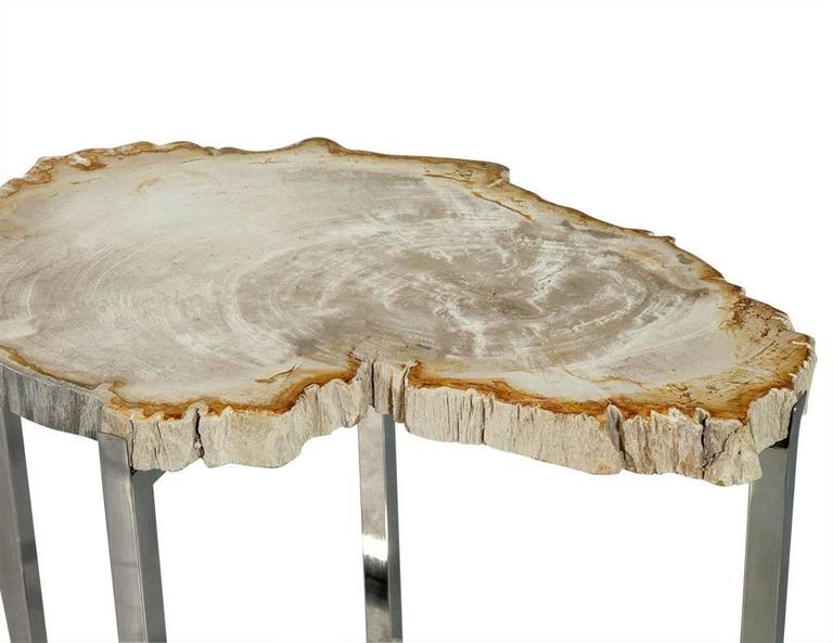 Modern Pair of Petrified Wood Accent Tables For Sale