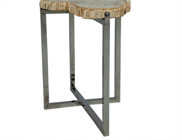 Chrome Pair of Petrified Wood Accent Tables For Sale