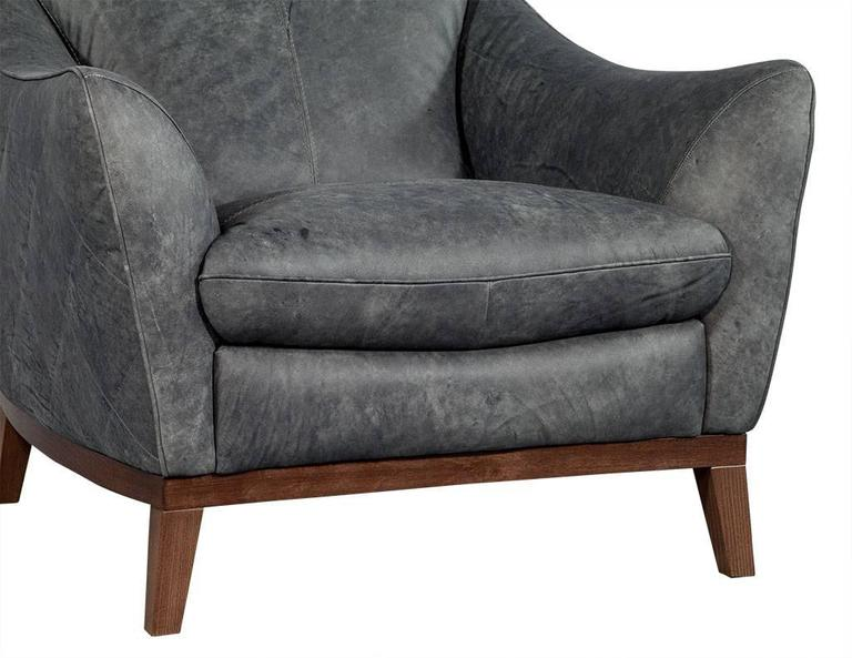Pair Of Quilted Distressed Leather Chairs In Grey For Sale