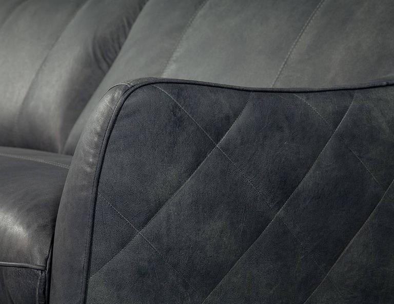 Quilted Distressed Leather Sofa In Grey At 1stdibs