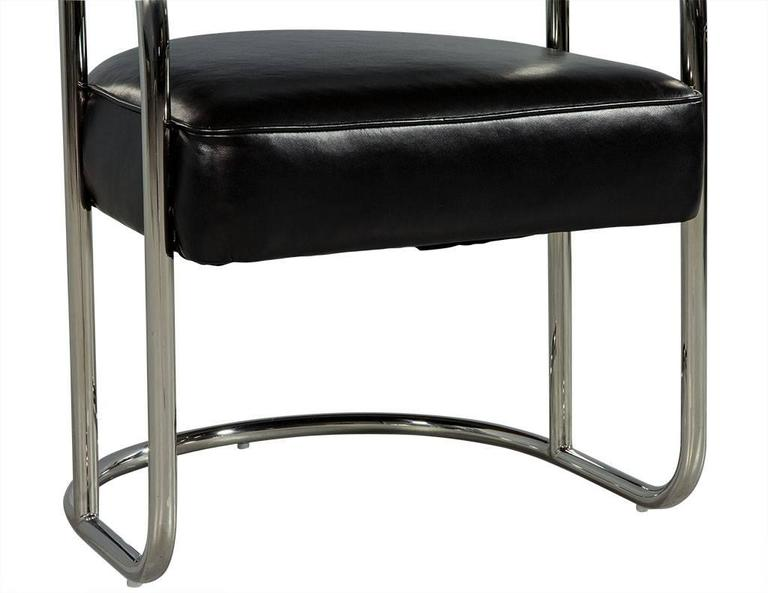 Luxurious Bauhaus Inspired Black Leather Chair For Sale 1