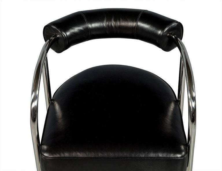 Stainless Steel Luxurious Bauhaus Inspired Black Leather Chair For Sale