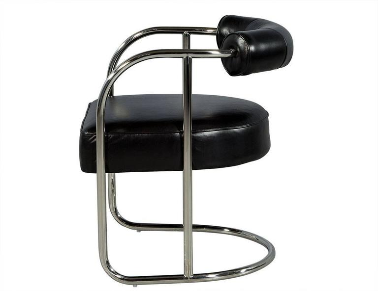 American Luxurious Bauhaus Inspired Black Leather Chair For Sale
