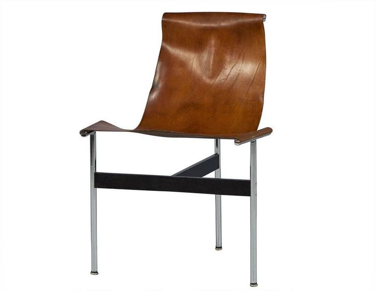 Mid-Century Modern Pair of William Katavolos Leather Sling T-Chairs For Sale