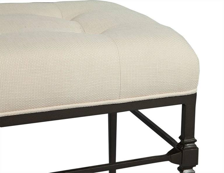 Pair of Tufted Bernhard Stools in Linen In Excellent Condition For Sale In North York, ON