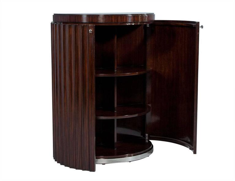 Stainless Steel Pair of Art Deco Fluted Commodes in Rosewood For Sale