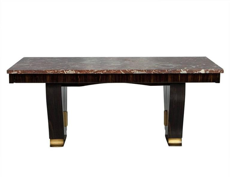 Unique french art deco marble top extendable table for for Unusual extending dining tables