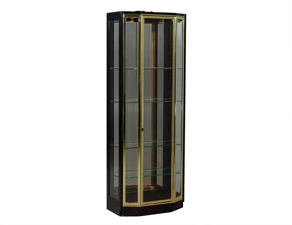 Pair of Henredon Ebonized and Brass Curio Cabinets For Sale at 1stdibs