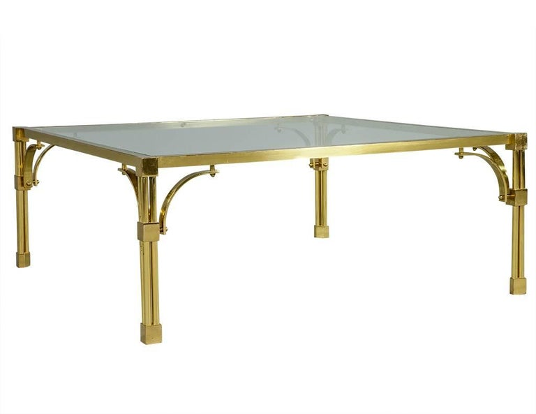 American Vintage Brass and Glass Chinoiserie Style Cocktail Table For Sale