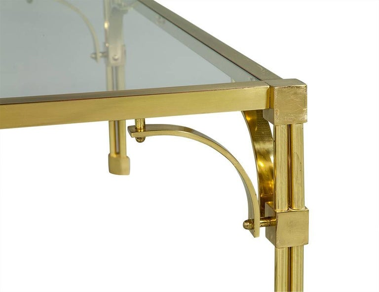 Vintage Brass and Glass Chinoiserie Style Cocktail Table In Good Condition For Sale In North York, ON
