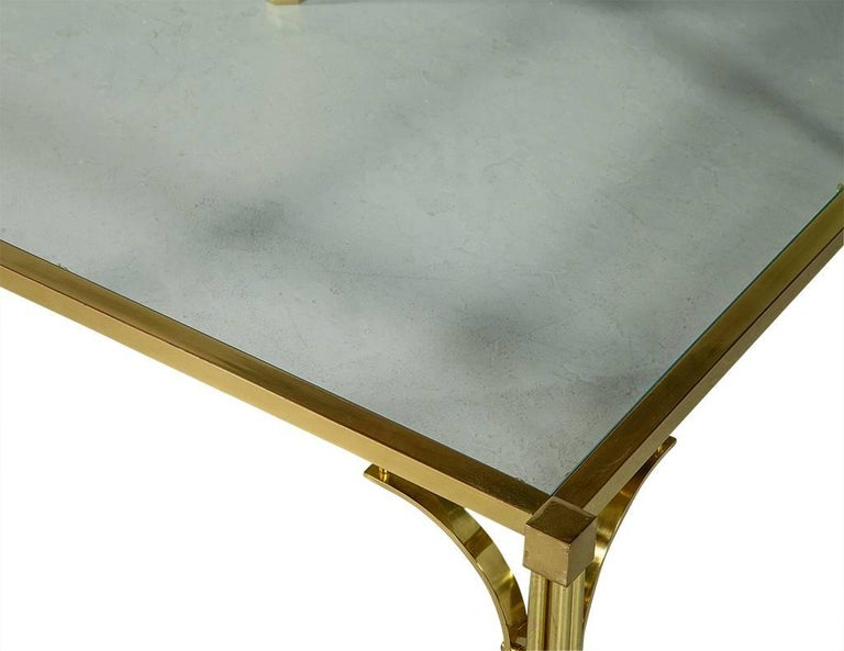Vintage Brass and Glass Chinoiserie Style Cocktail Table For Sale 1