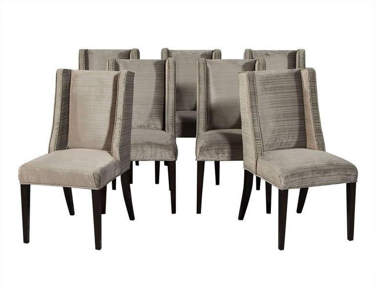 A modern version of the Classic Parsons chair, this distinctive style adds sophistication to a space. With strong linear appearance this winged back, deep seat style couples timeless elegance with a design of comfort. The most desirable chair for