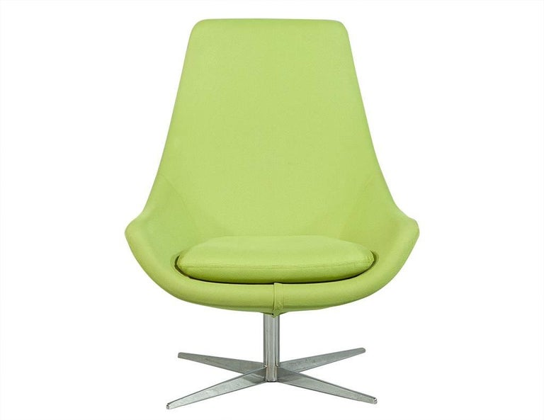 Mid Century Modern Pair Of Retro Lime Green Chairs With Foot Stools For
