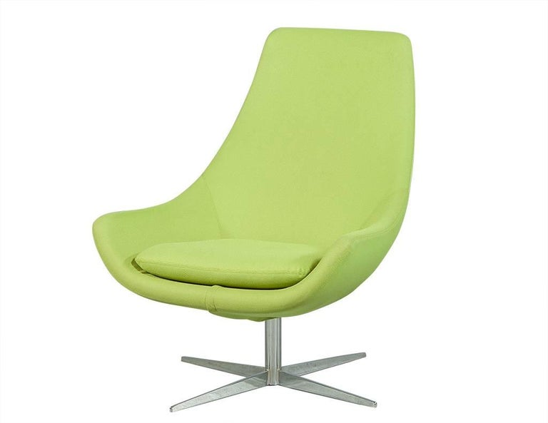 Pair Of Retro Lime Green Chairs With Foot Stools For Sale