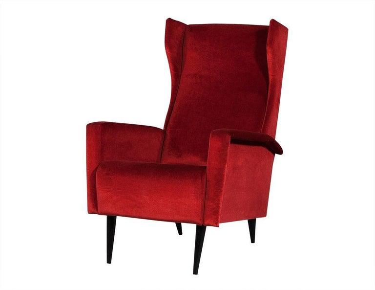 Mid Century Modern Vintage Italian Red Velvet Wing Chair For