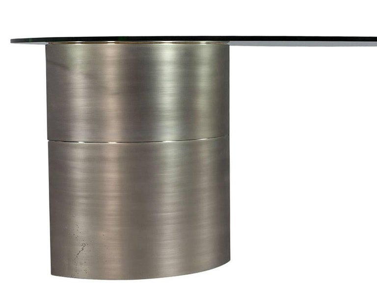 Modern Round Glass and Chrome Abstract Dining Table For Sale