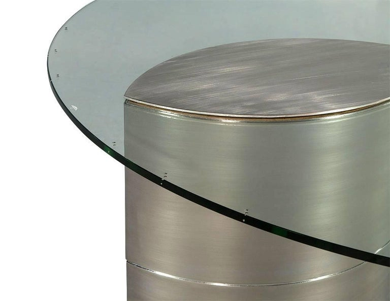 American Round Glass and Chrome Abstract Dining Table For Sale