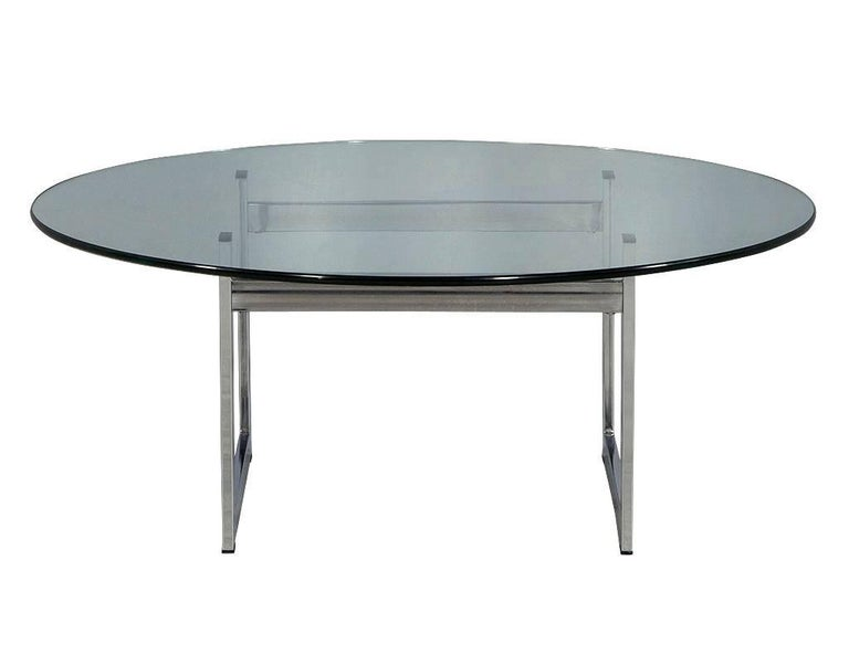 1970s Chrome And Glass Round Cocktail Table For Sale At 1stdibs