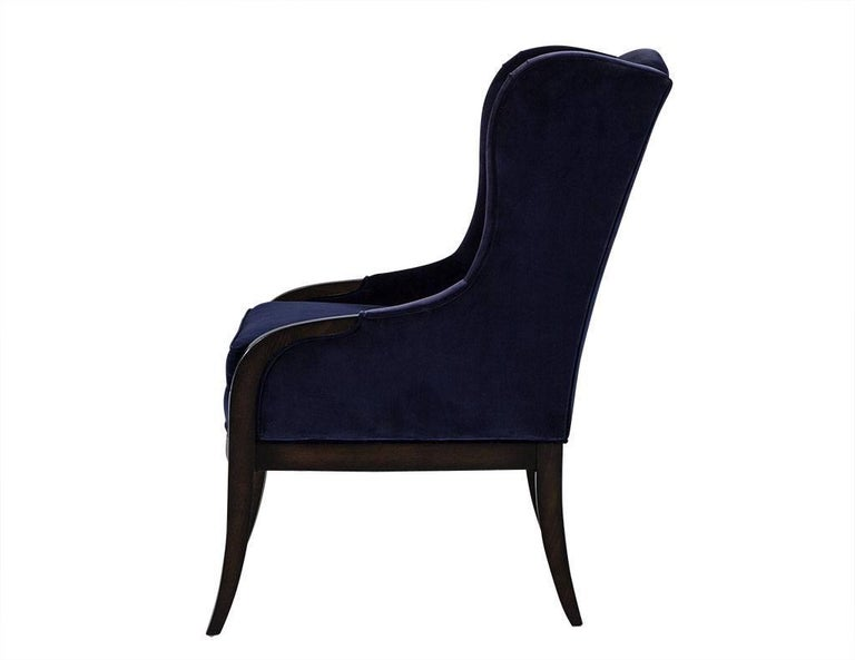 Pair of Custom Blue Velvet Wing Chairs In Excellent Condition For Sale In North York, ON