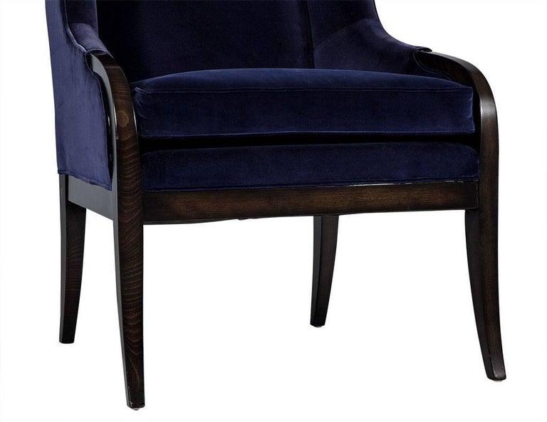 Upholstery Pair of Custom Blue Velvet Wing Chairs For Sale