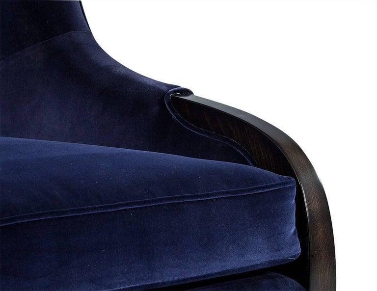 Pair of Custom Blue Velvet Wing Chairs For Sale 1