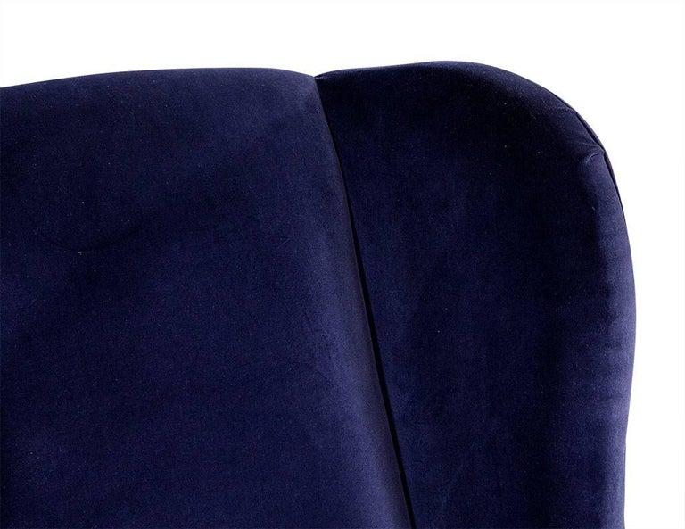 Pair of Custom Blue Velvet Wing Chairs For Sale 2