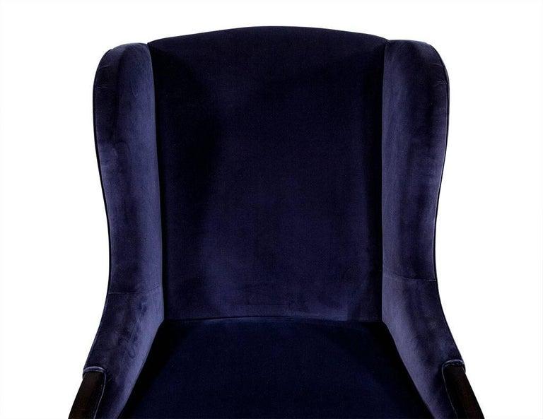 Pair of Custom Blue Velvet Wing Chairs For Sale 3