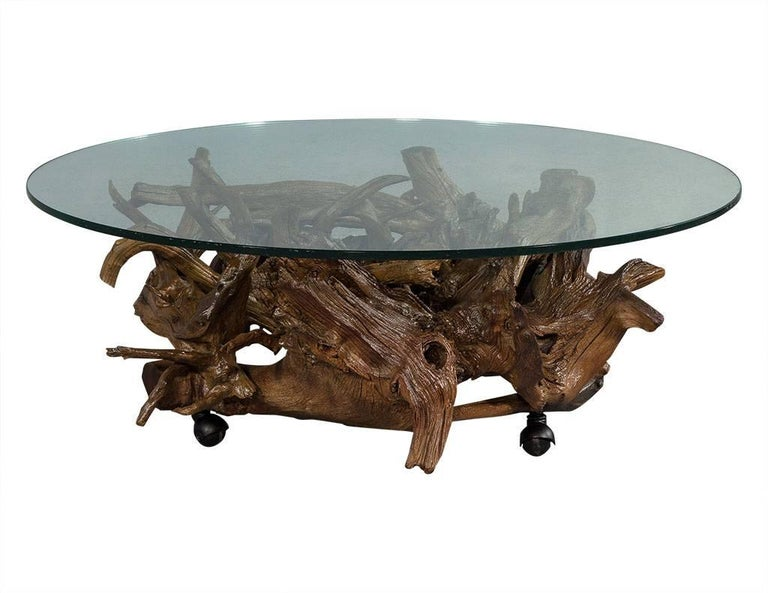 vintage driftwood carved glass top cocktail table for sale a