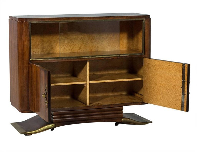 Antique French Art Deco Rosewood Bar Cabinet In Good Condition For Sale In  North York, - Antique French Art Deco Rosewood Bar Cabinet At 1stdibs