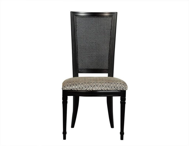 Walnut Set of Six Louis XVI Style Cane Back Dining Chairs For Sale