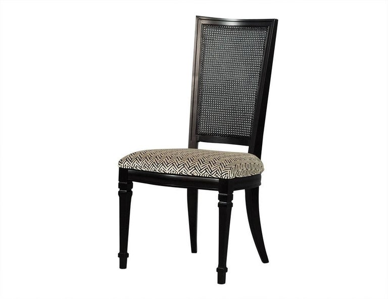 Set of Six Louis XVI Style Cane Back Dining Chairs In Excellent Condition For Sale In North York, ON